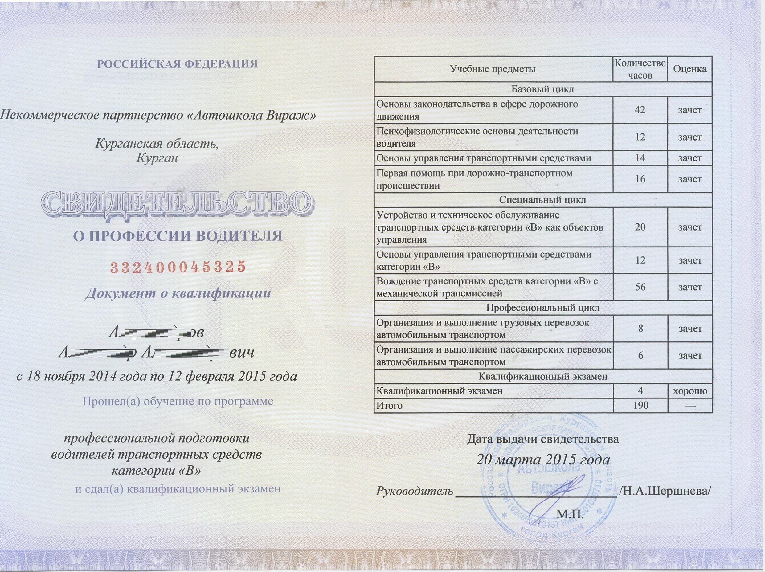 Официальное свидетельство об окончании автошколы | online. Документы.